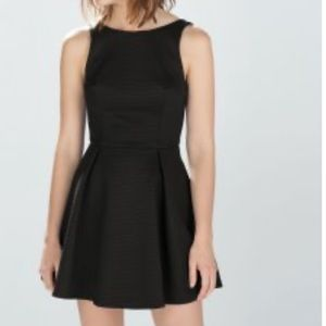 Zara TRF Black Cocktail Ribbed Dress SMALL SKATER